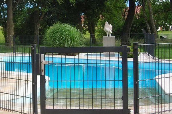 Zaunbau-Tür mit Gitter - passend zum Zaun.