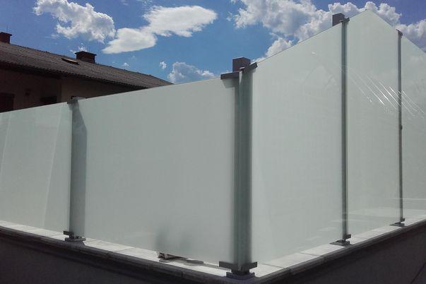 Schutzfeld-System Glass Clips - mit Glas satiniert