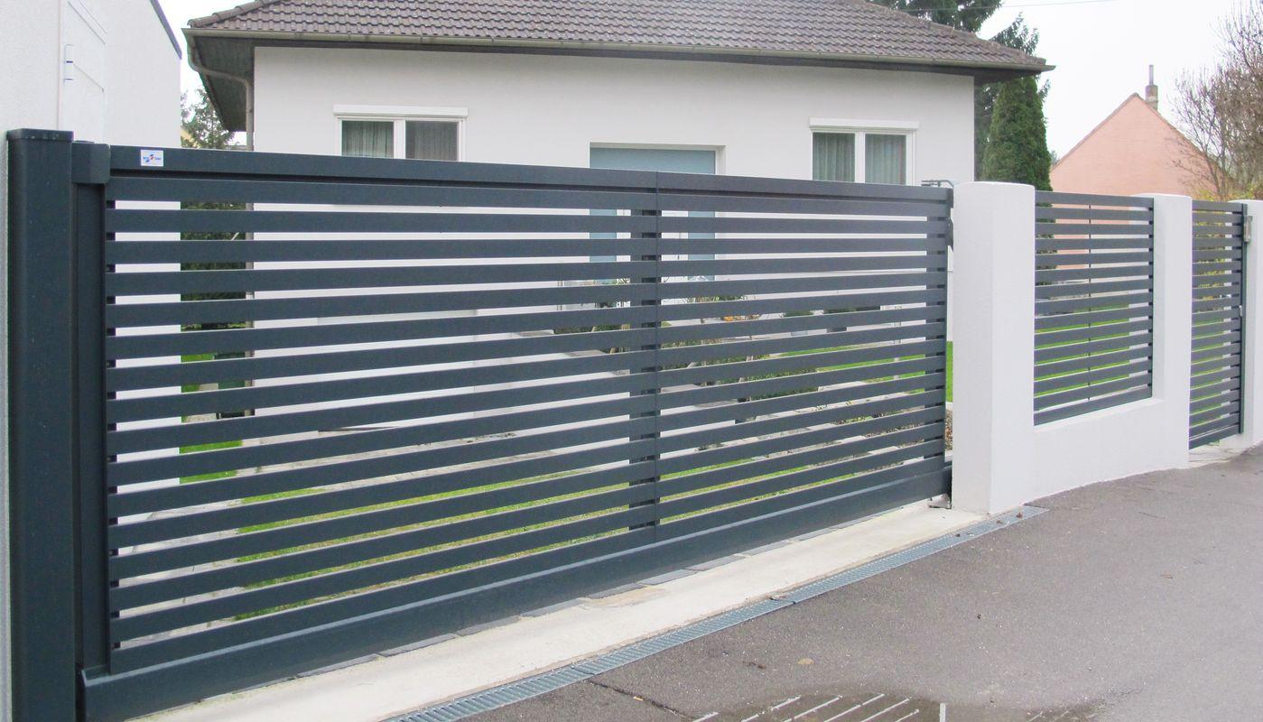 brix frontline alu zaun tor horizontale profile brix z une tore aus aluminium. Black Bedroom Furniture Sets. Home Design Ideas