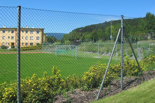 Draht-Geflecht-Zaun für Objektbereich - mit Spezialpfählen.